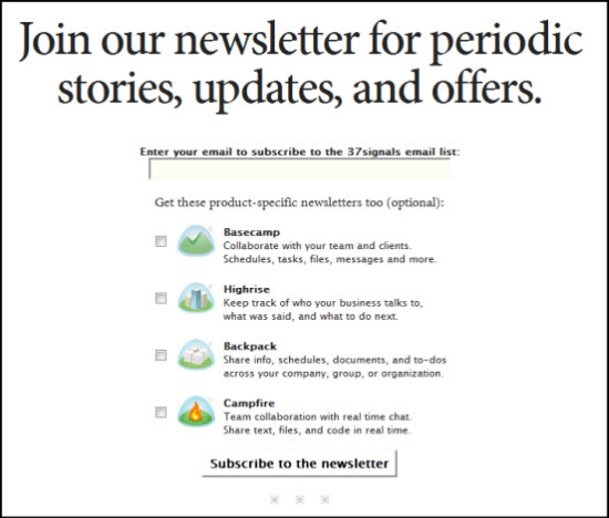 37 Signals Newsletter Sign Up