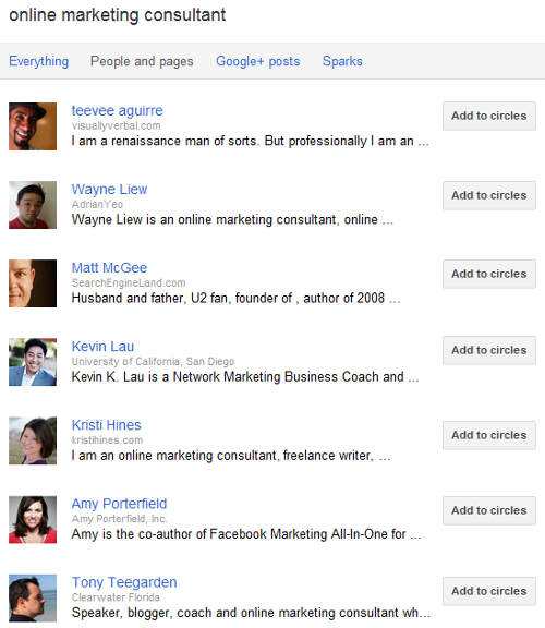 Google+ Profile Introduction in Search Results