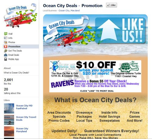 Facebook coupon example
