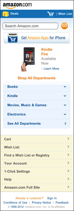 Amazon Mobile Website Design