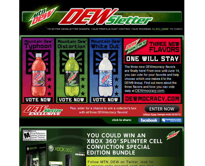 Mountain Dew Newsletter