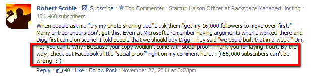 Robert Scoble comment