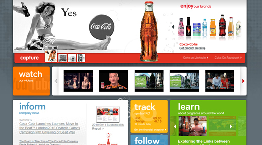Coca Cola homepage