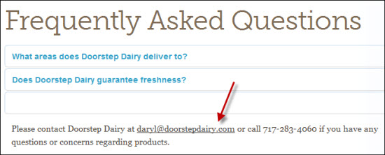 Doorstep Dairy Customer Service
