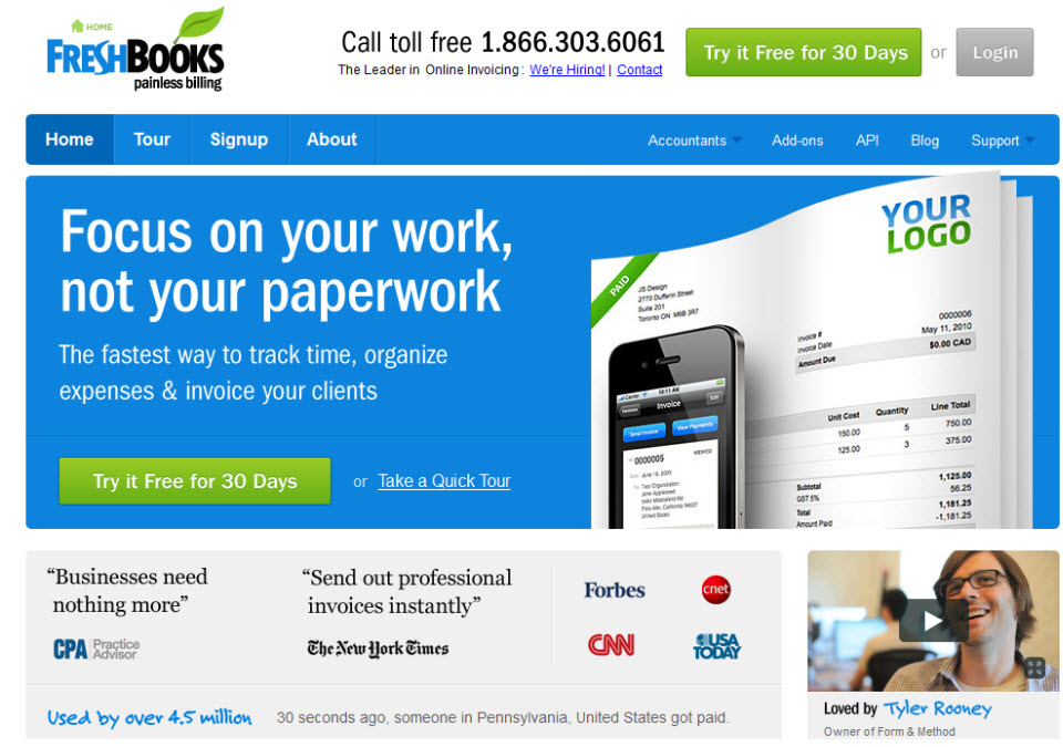 Freshbooks Website Review