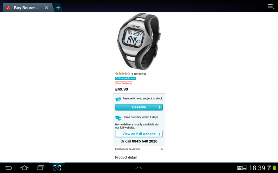 """Argos product page on 10.1"""" tablet"""