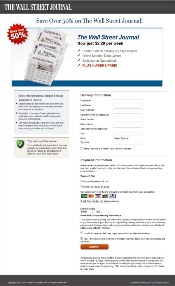 Wall Street Journal Landing Page