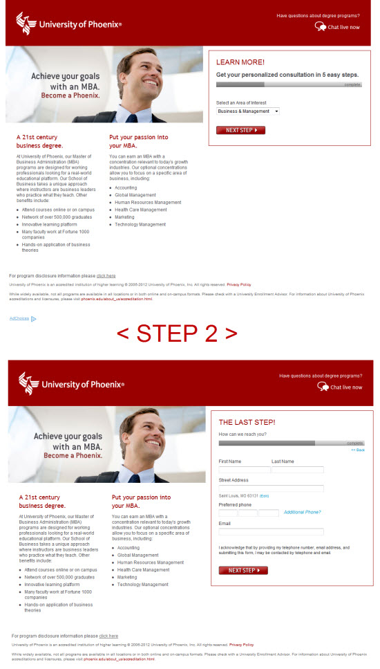 University of Phoenix Landing Page