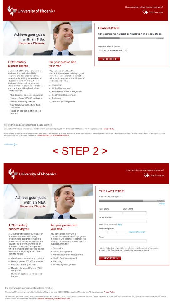 University of Phoenix Landing Page