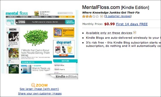 The blog, Mental Floss, available on Kindle.