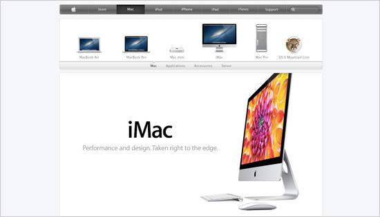 A clear and visual content presentation makes Apple.com very intuitive to use.