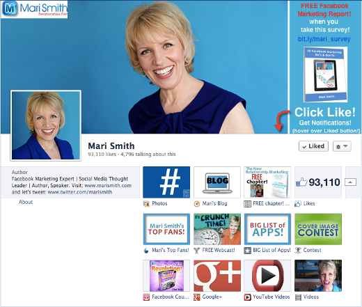 Mari Smith takes advantage of Facebook's new Timeline cover rules.