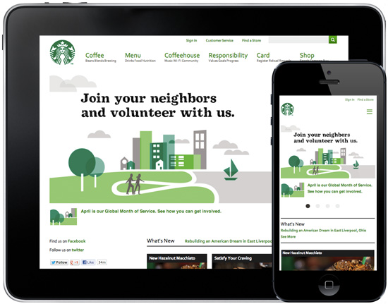 Whether you are at home, or on the run the Starbucks website is clean and easy to use.