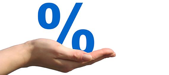 Prozente auf der Hand