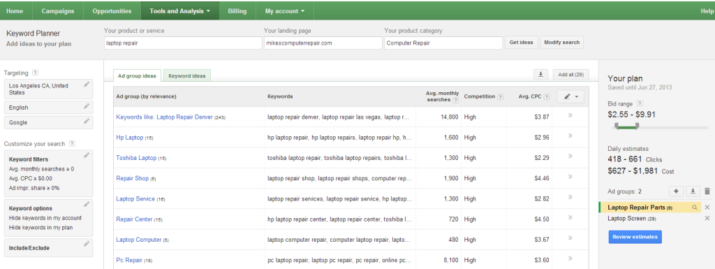 Google AdWords  Keyword Planner results