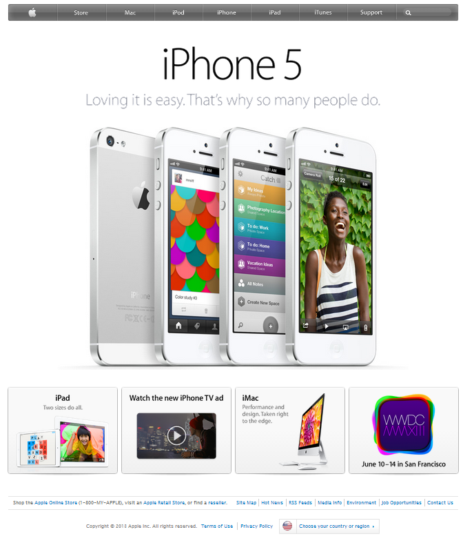 white space on Apple home page