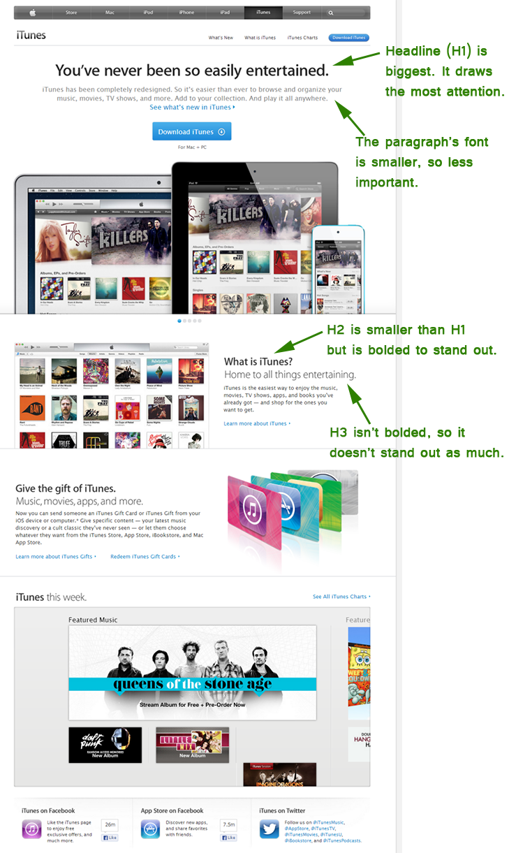 font sizes on iTunes home page