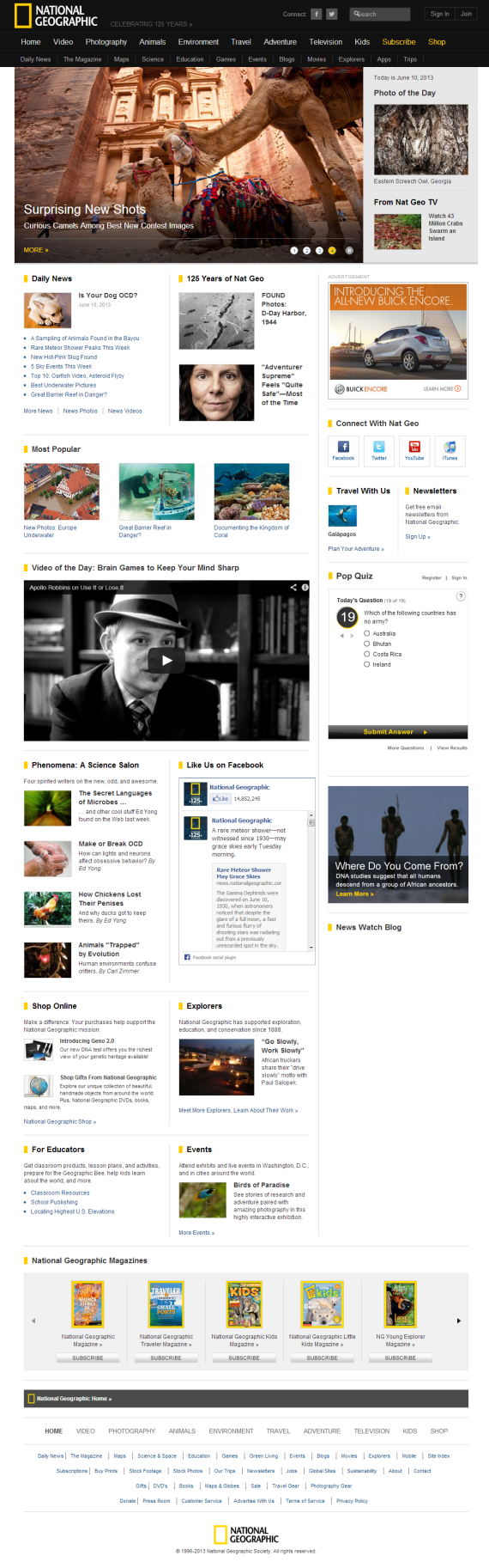 image sizes on national geographic home page