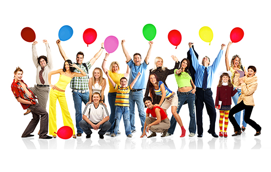 Happy funny people with balls. Isolated over white background.