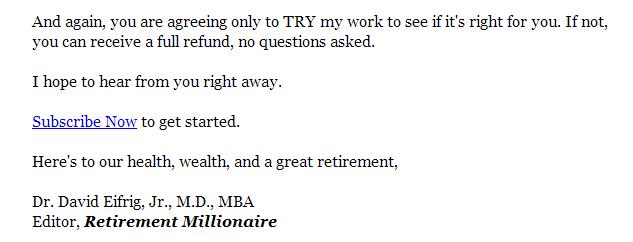 cta from retirement millionaire promo