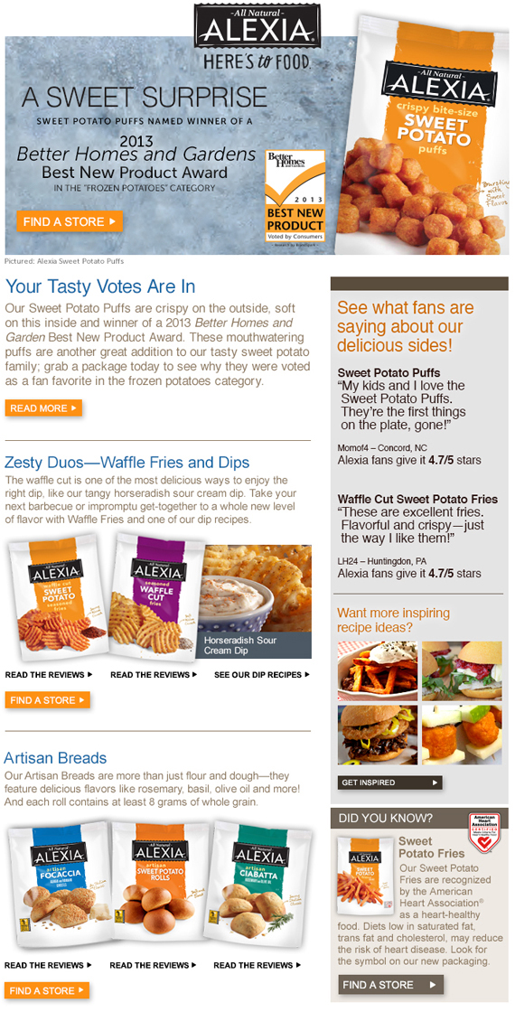 Alexia Foods Email Campaign - UGC