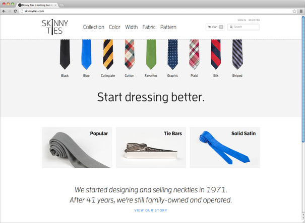 Skinny Ties homepage case study