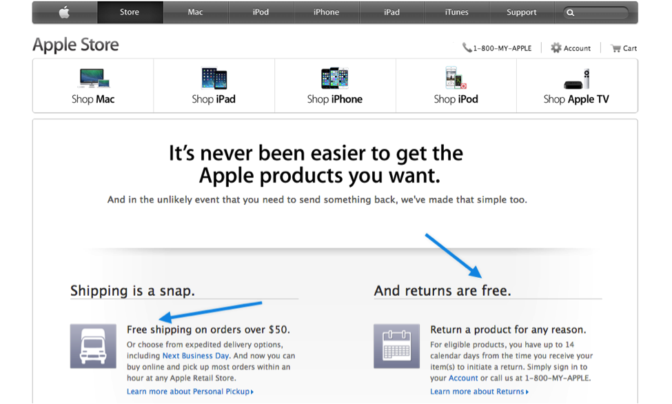 Apple's free shipping offer after you spend 50 dollars or more
