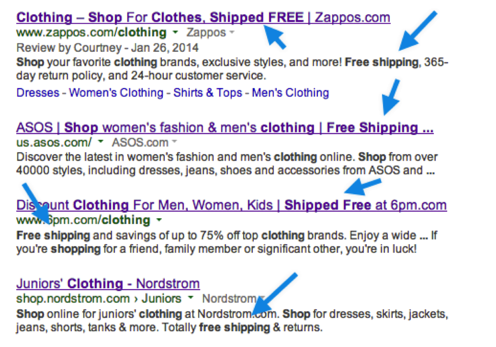 Free shipping example in Google search engine results page