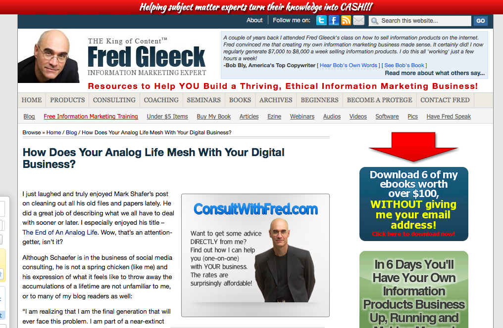 Fred Gleeck king of content