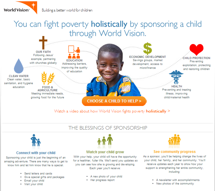 world vision landing page