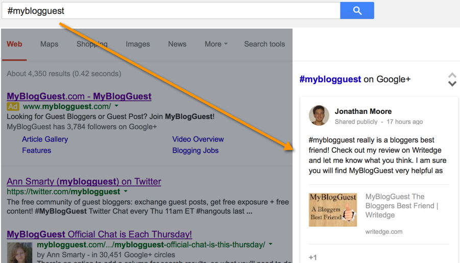 Google search hashtags