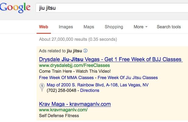 JiuJitsu AdWords ad example