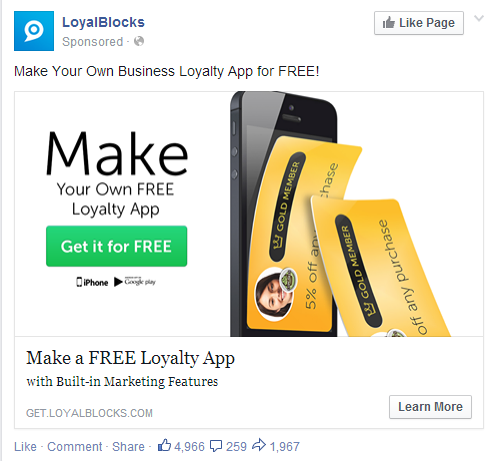facebook ad loyalblocks