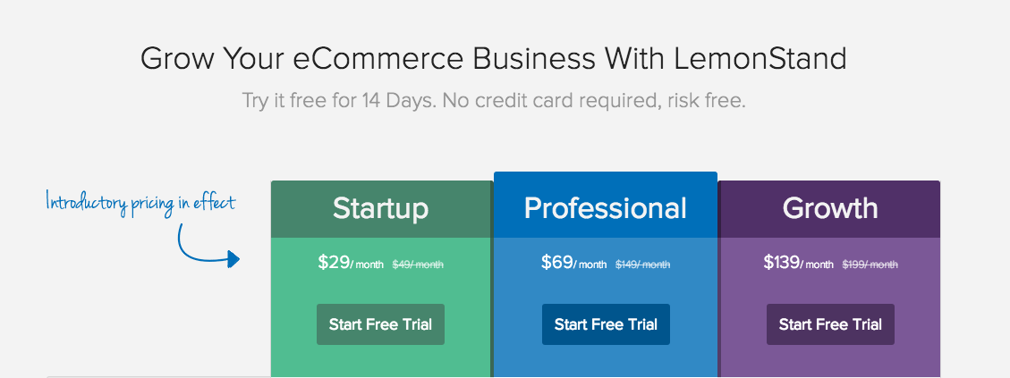LemonStand's introductory pricing creates urgency