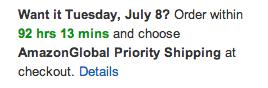 Amazon's express shipping deadline creates urgency