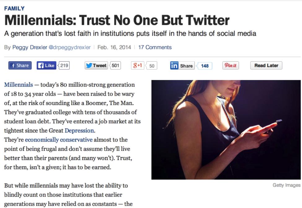 Millenials trust no one