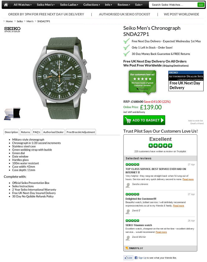 Express Watches social proof