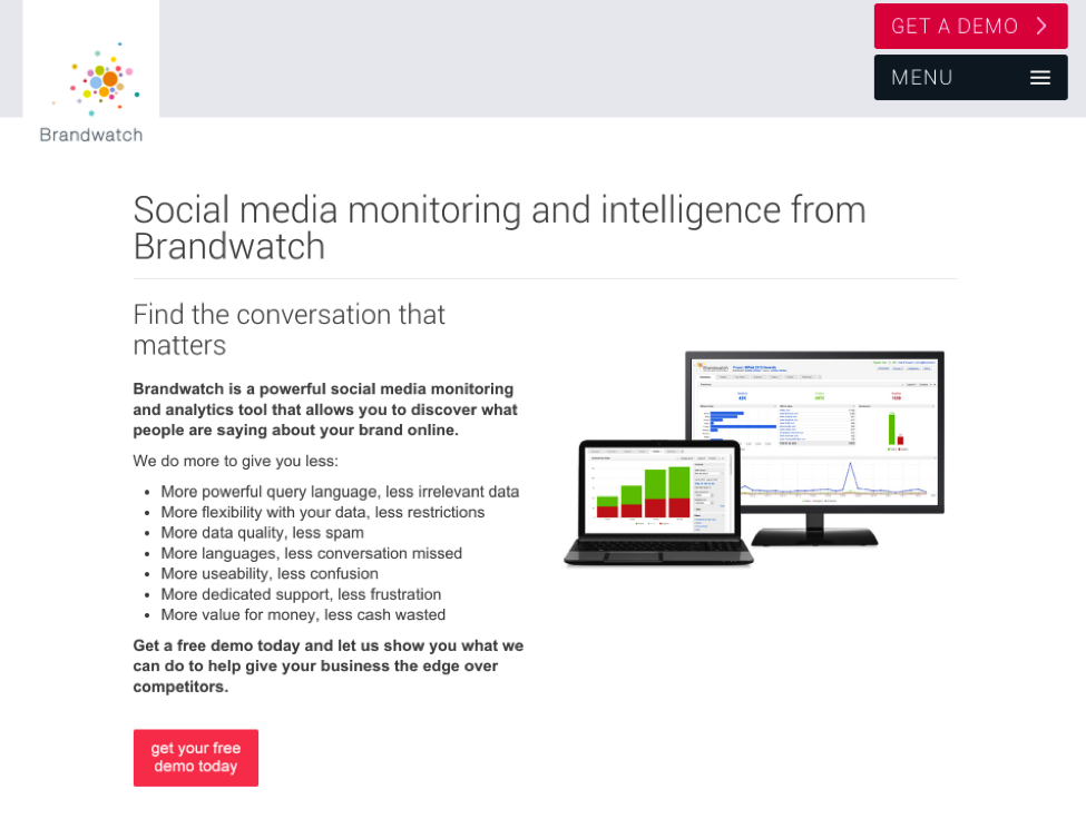 Brandwatch's CTA button
