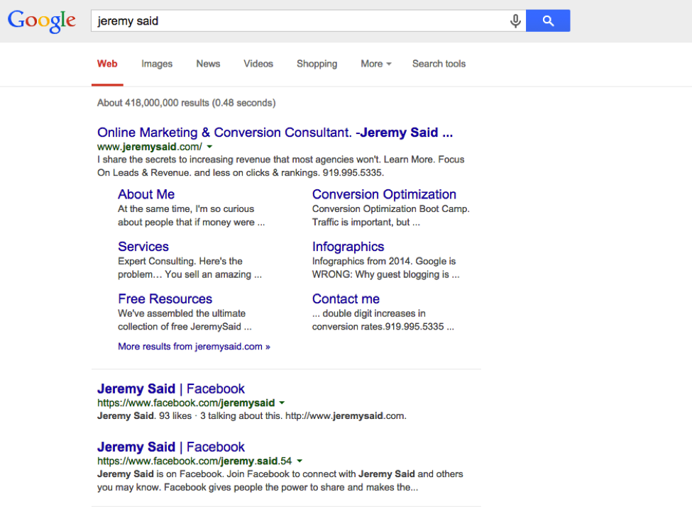 JeremySadi SERP query