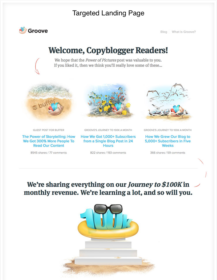 groove's copyblogger landing page