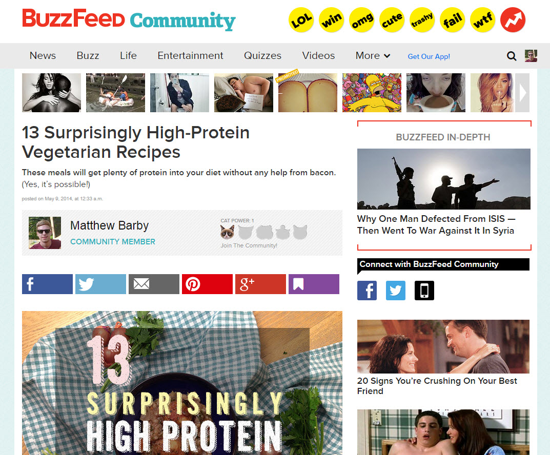 buzzfeed first page feature