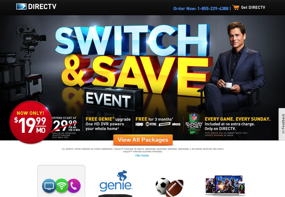 Direct Tv landing page