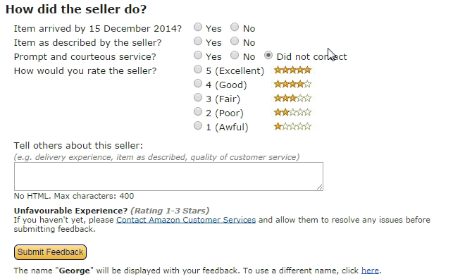 amazon one click feedback