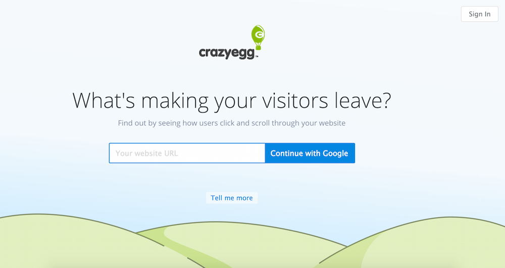 crazyegg google signup test