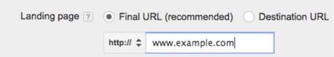 split testing - google adwords final url new
