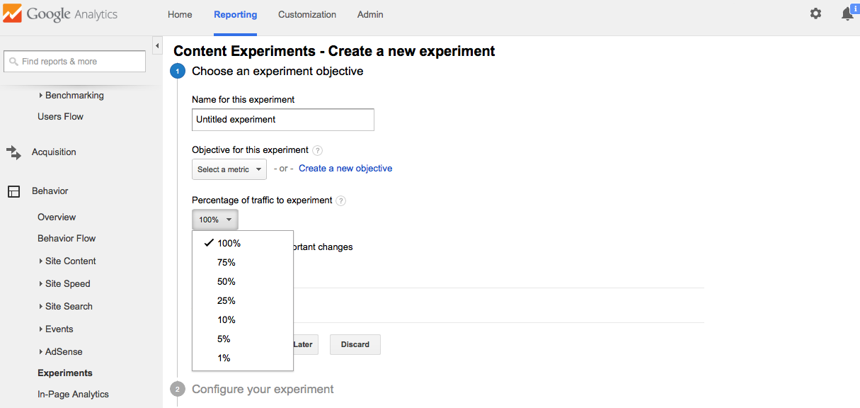 split testing with google analytics content experiment