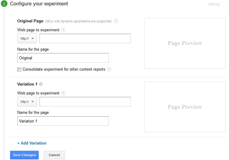 configure the experiment
