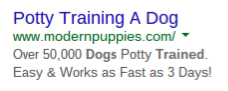 puppy training ppc ad