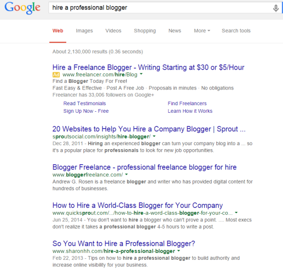 hire a professional blogger Google Search