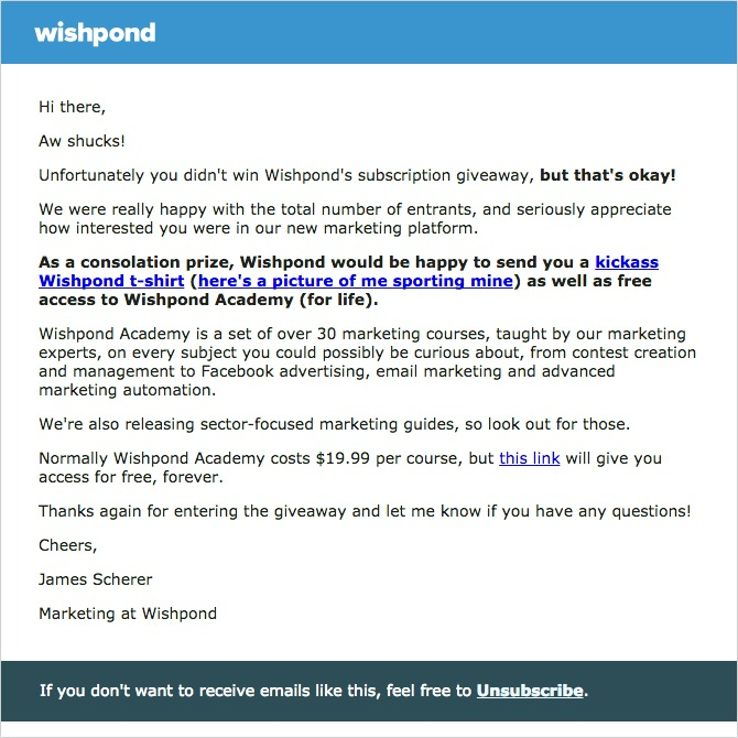 post contest email wishpond